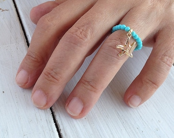 Turquoise Ring, Stretch Beaded Ring, Gold Starfish Charm, Stacking Ring, Dainty Ring, Gemstone Modern Ring, Turquoise Jewelry, One Size Ring