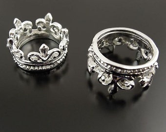 4 Crown Charms Silver Tone 3D with Outstanding Detail - SC2501