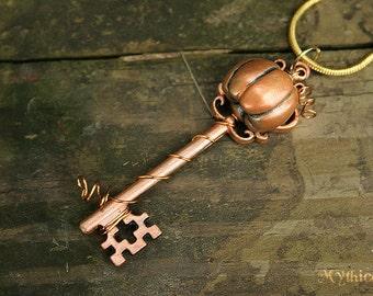 Copper Orange Pumpkin Key Necklace