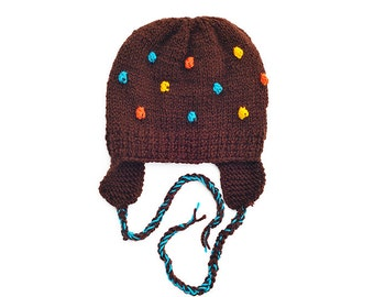 Knitted Toddler Kids Children Boys Girls Hat Brown Turquoise Blue Yellow Orange popcorn Bobbles Ear Flaps, 6-9-12-18-24 months, 2T 3T 4T 5
