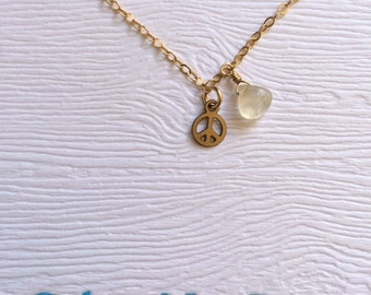 Tiny Peace Sign Charm Necklace