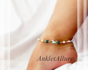 White Coy Cloisonne Anklet Sea Life Ankle Bracelet Fish Anklet Ocean Blue Gold Ankle Bracelet