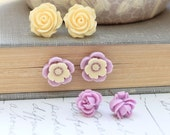 Purple Flower Earrings Stud Earrings Surgical Steel Posts Light Mauve Violet Lavender Yellow Cream Rose Floral Accessories Three Pairs