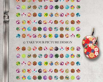 INSTANT DOWNLOAD - Colorful flowers digital collage sheet 12mmx12mm - 144 images- Download and print