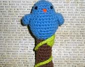 Blue Amigurumi Birdie Rattle Baby Toy Girl or Boy