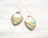 Polymer clay fashion earrings pastel stripes light blue orange yellow pearlescent arrow shaped asymmetrical geometrical dangle earrings - HunkiiDorii