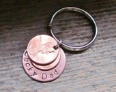 TWO Penny Lucky Dad Key Chain Keychain Hand Stamped Charm Choose Penny Year From 1950 to 2017 Gift For Dad From Kids Best Daddy Gift