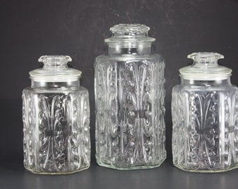 popular items for clear glass canister on etsy