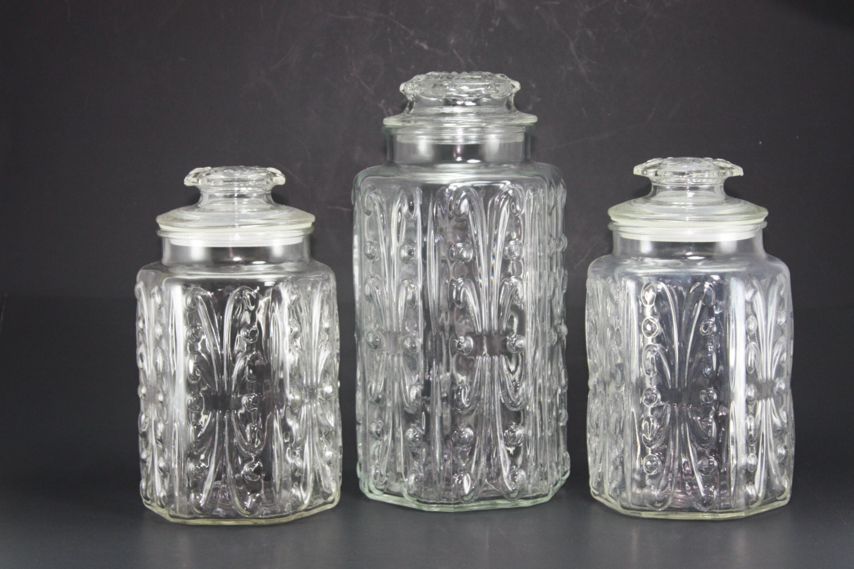 Vintage Clear Glass Canister Decorative Embossed Jars Set Of