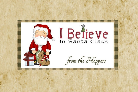 Primitive Christmas Treat Bag Topper;/DIY printable/Santa
