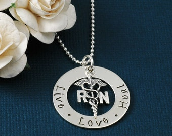 Live Love Heal - Nurse - RN Washer Necklace