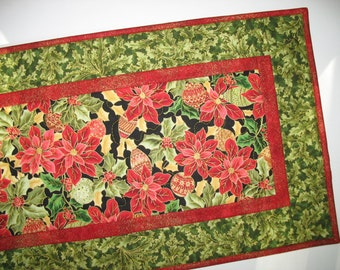 Christmas Table Runner Poinsettias and Ornaments