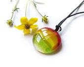 Fused glass pendant, red orange yellow green, handmade