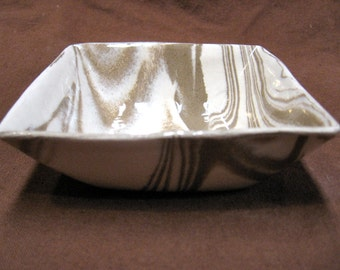 Ceramics and Pottery Bowl - Handmade Brown and White Marbled Stoneware Pottery Agateware Gift Idea - Small Dip or Candy Bowl
