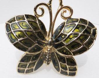 Vintage jewelry brooch in olive green gold enamel butterfly brooch