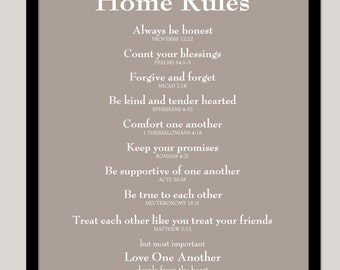 "Scripture Sign Family Rules Poster House Rules Home Rules Scripture Print - Family Rules - House Rules - 16""x20"""