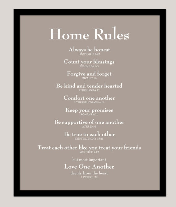 """Scripture Sign Family Rules Poster House Rules Home Rules Scripture Print - Family Rules - House Rules - 16""""x20"""""""