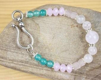 CLEARANCE Blue and Rose Quartz Gemstone bracelet with Rhinestone