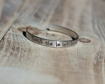 Little Girls Cuff Message Bracelet - Hand Stamped Silver Aluminum Cuff Bracelet Though She Be But Little She Is Fierce -Valentine's Day Gift