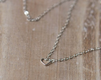 Tiny Heart Necklace - Sterling Silver - Delicate Everyday Necklace - Layering Necklace - Graduation Gift