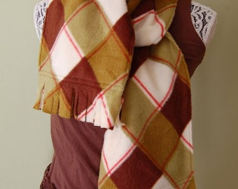 SCARF WITH FRINGE- Olive Argyle- polar fleece winter scarf