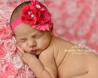 Pink Headband, Baby headband, baby headbands,newborn headband,shabby chic headband, Easter Headband,Hot Pink Baby Headband,flower headband.
