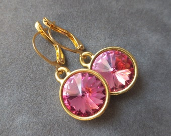 Pink Tourmaline Jewelry, Gold October Birthstone Earrings, Dangles, Crystal Birthstone Jewelry, Pink Tourmaline Drop Earrings