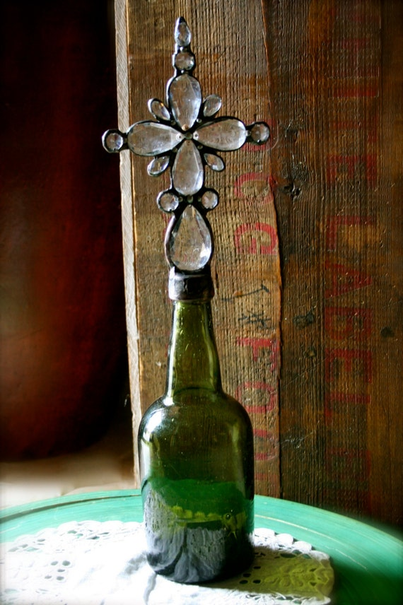 Vintage Cross Bottle c1800s Moss Green Vessel With Shimmering Antique Crystals Indulge Rustic Home Decor