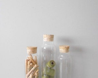 tall cork lid glass apothecary jar / storage terrarium / 1 jar