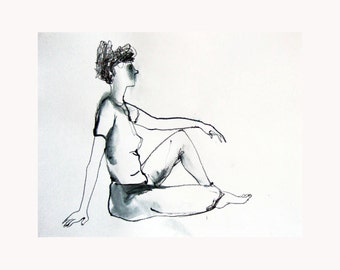 drawing WOMAN sitting original sketch pencil line monochromatic