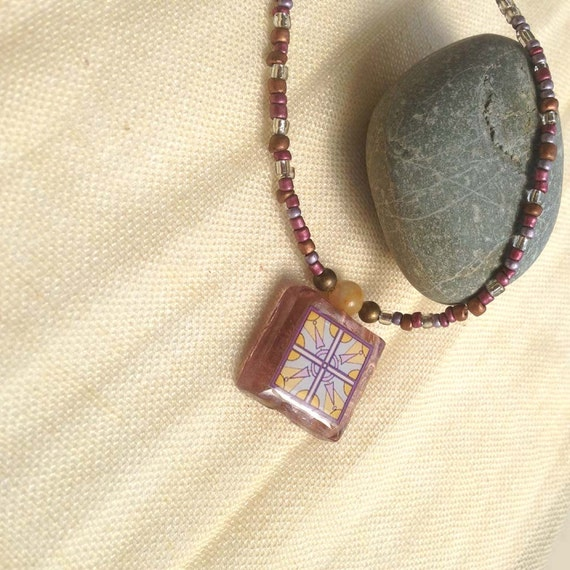 Spanish Tile, Lavender, Catalina Island Tile and Arts and Crafts Inspired Glass Beaded Necklacein Purple and Mustard Yellow