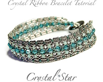 PDF beading tutorial pattern - Crystal Ribbon Bracelet