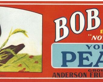 Bob White Peaches Vintage Crate Label, 1960s