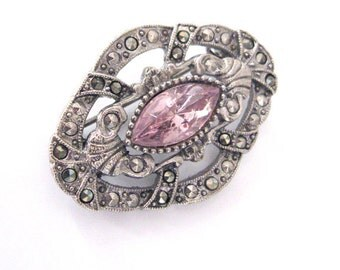 Vintage Marcasite Brooch by 1928 Jewelry Co., Amethyst Rhinestone and Silver