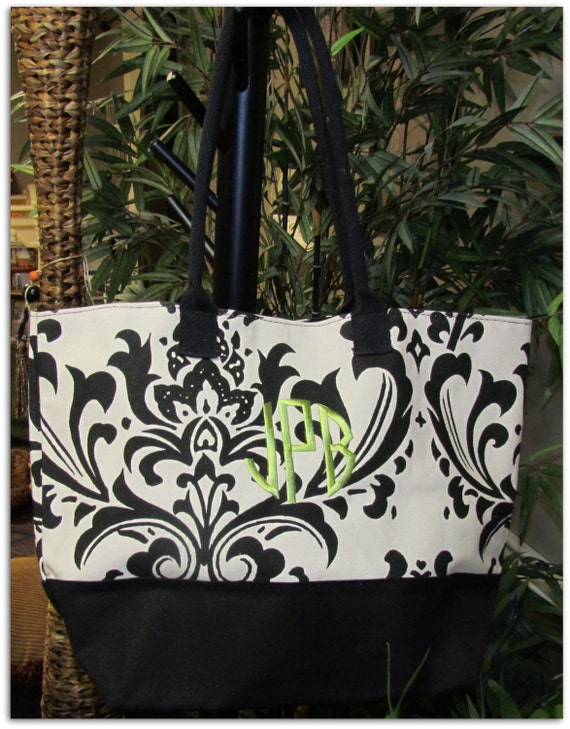 Canvas Damask Tote