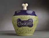 """Dog Treat Jar """"Cookies"""" Made To Order Green and Purple Dog Treat Jar by Symmetrical Pottery"""