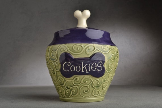 "Dog Treat Jar ""Cookies"" Made To Order Green and Purple Dog Treat Jar by Symmetrical Pottery"