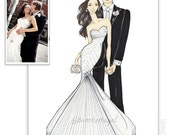 Custom Wedding Fashion Illustration- Bride and Groom
