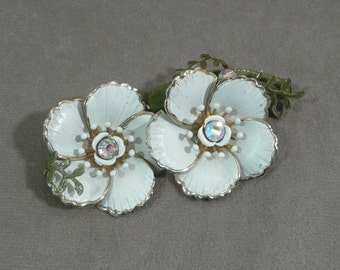 Vintage Large White Enameled Double Flower Brooch with Clear Rhinestone Centers