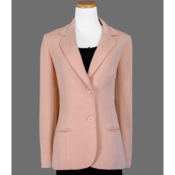 SALE, Vintage 1970s Wool Blazer, 70s Blazer Jacket, Peach Pink Blazer, Secretary Blazer, Spring Blazer, Medium Large M ML L