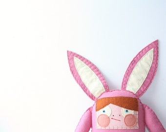 Pink Bunny Stuffed Animal, Felt Plush Rabbit