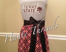 Texas State Bobcats TSU College Gameday Game Day Tube Strapless T-Shirt Dress with Black Sash Bow - Large / X-Large