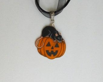 Halloween Pumpkin Rat Necklace Black Rat Pendant