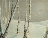 Original acrylic painting silver birch aspen forest in the snow landscape winter shadows