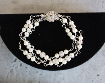 PEARL RHINESTONE BRACELET for the Bride,  Three Strands on Sterling Chain with Swarovski Rhinestones and Pearls in White or Cream