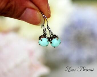 Bridesmaids Hook Dangle Earrings - Swarovski Crystal Stud Typical 1.25 Carat Pierced Earrings - Choose your color