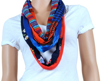 Scarf - Infinity Scarf - Womens Chunky Floral Print and Houndstooth Scarf