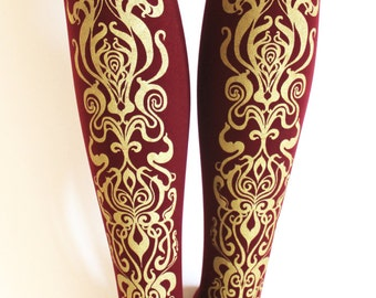 M Tall Art Nouveau Printed Tights Thick Medium Tall Gold on Bordeaux Burgundy Oxblood Claret Wine Red Womens