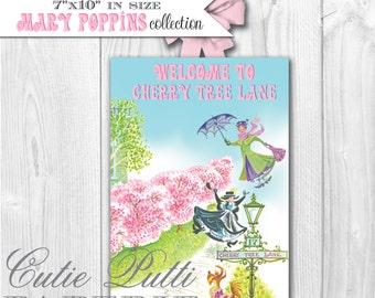Mary Poppins Vintage Party - PRINTABLE Welcome DOOR SIGN - Cutie Putti Paperie