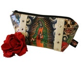 Day of the Dead Makeup Bag - Vinyl Pouch - Sparkle Cosmetic Bag - Dia De Los Muertos - Rockabilly Purse - MADE TO ORDER